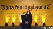 Die Fotos wurden von Hilal Köylü beim außerordentlichen Parteitag der IYI-Partei in der Türkei gemacht und auf den Fotos ist Meral Aksener, Vorsitzende, zu sehen.