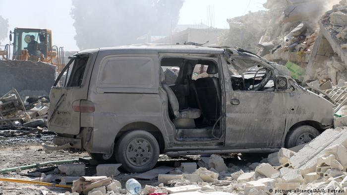 The wreckage of a blast in Idlib