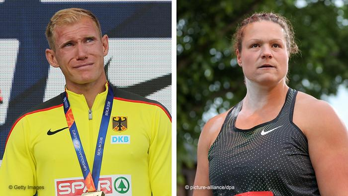A split picture showing European decathlon champion Arthur Abele on left and shot-putter Christina Schwanitz, who won silver at the European Championships, on the right.