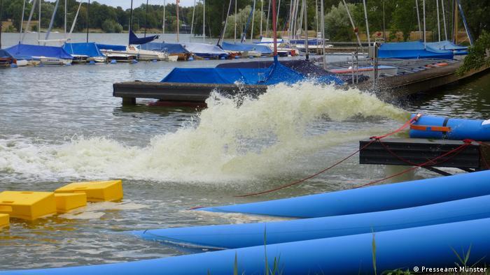 Water being pumped in Aasee lake in Münster in Germany.