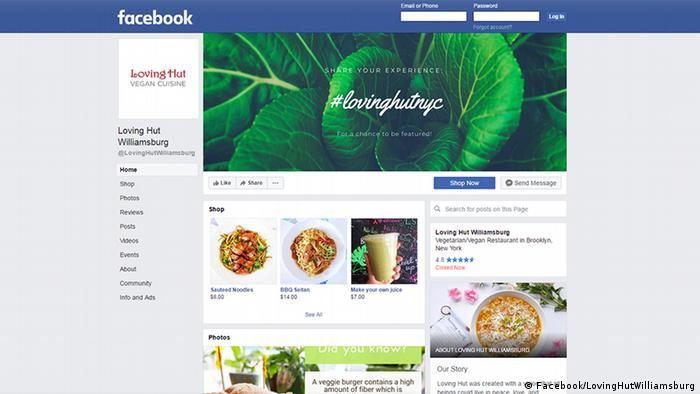 Facebook screenshot of vegan chain Loving Hut