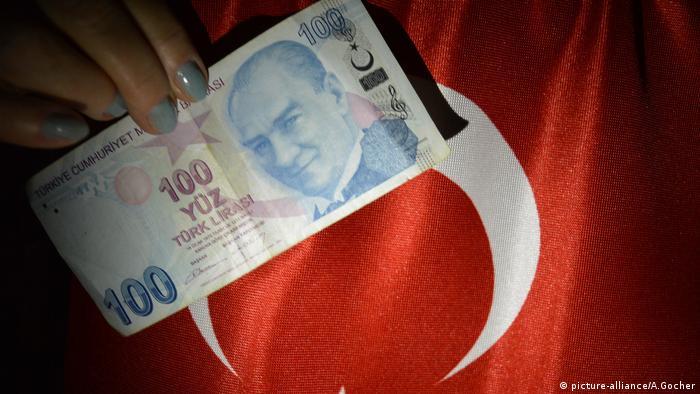 100 турецких лир на фоне флага Турции