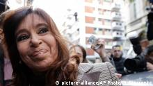13.08.2018 Former President Cristina Fernandez leaves a court hearing after presenting a brief in which she claims that she is wrongly accused in an investigation of alleged corruption, in Buenos Aires, Argentina, Monday, Aug. 13, 2018. Fernandez was called to the court as part of a corruption probe sparked by the recent release of an investigation on illicit dealings during the governments of the ex-president and her late husband and predecessor, Nestor Kirchner. (AP Photo/Natacha Pisarenko)