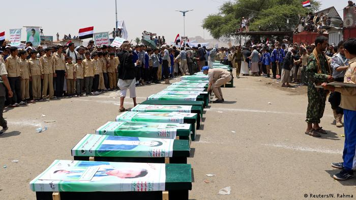 Funeral of children killed in a Saudi-led airstrike