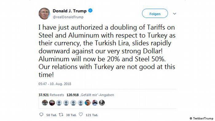 Screenshot von Trump Tweet über die Türkei (Twitter/Trump)