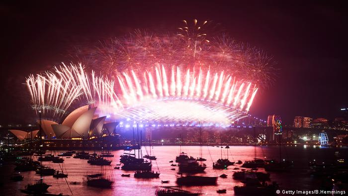 Fireworks explode over the Sydney Opera House