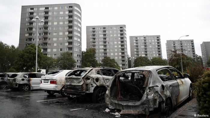 Charred cars in Gothenburg