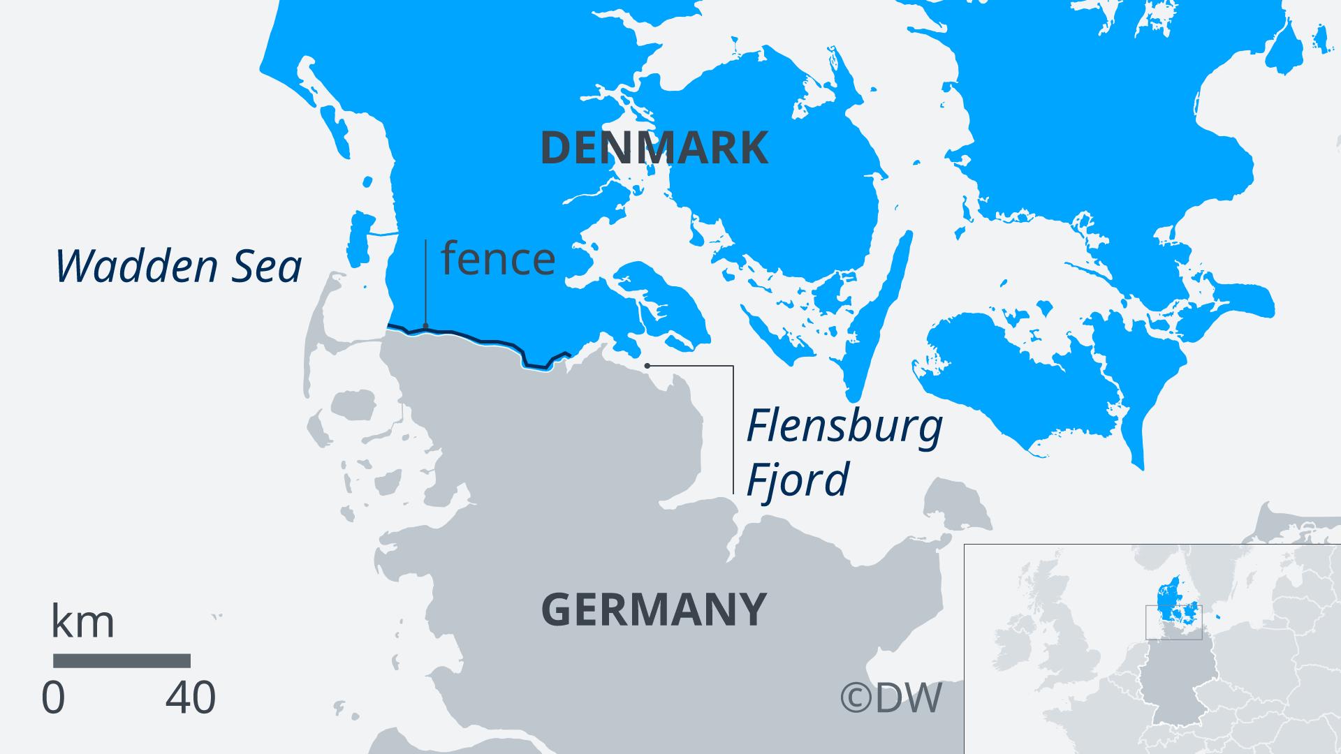 Karte Dänemark Deutschland EN
