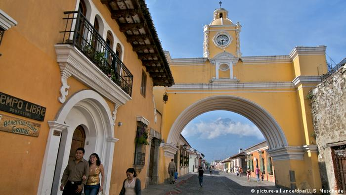 Antigua Guatemala with the Water Volcano in the background