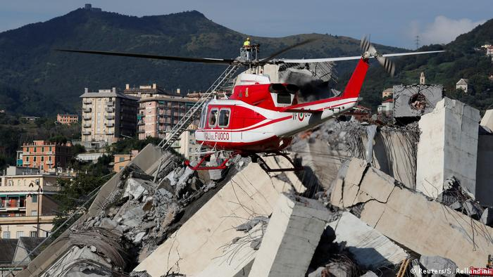 Rescue operations in Genoa continue into Wednesday following bridge collapse (Reuters/S. Rellandini)