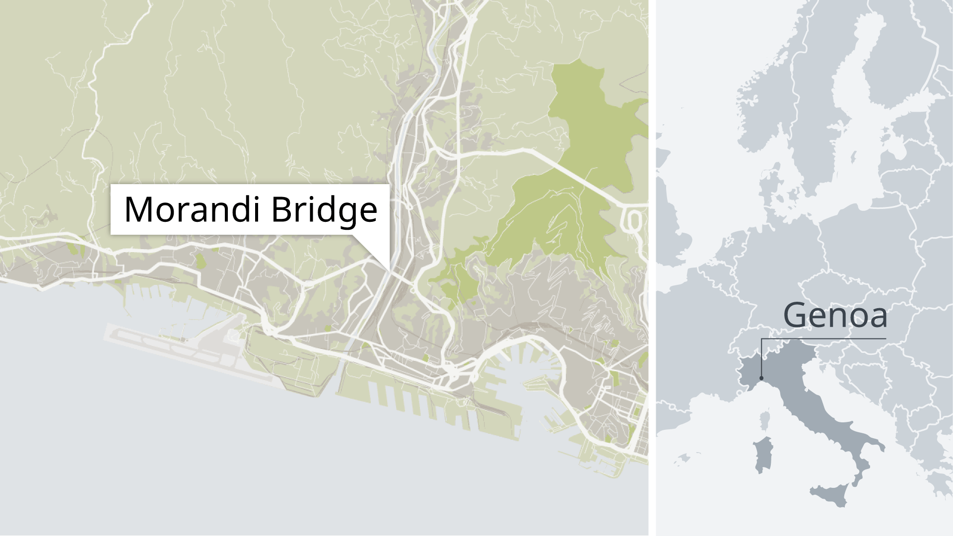 Karte Morandi Brücke, Genua, Italien EN