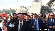 Italien Giuseppe Conte bei der eingestürzten Brücke Morandi in Genua (Reuters/M. Pinca)