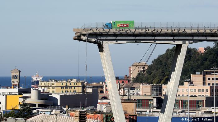 The remnants of the collapsed Morandi Bridge in Genoa (Reuters/S. Rellandini)