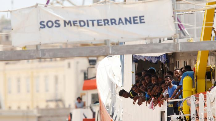 People on a SOS Mediterranee ship (Reuters/D. Zammit Lupi)
