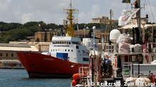The humanitarian ship Aquarius is seen at Boiler Wharf in Senglea, in Valletta's Grand Harbour, Malta August 15, 2018. REUTERS/Darrin Zammit Lupi