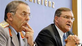 German Defense Minister Franz Josef Jung, right, with Wolfgang Schneiderhan, Inspector General of the Bundeswehr.