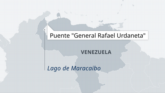 Mapa del puente General Rafael Urdaneta, sobre el Lago Maracaibo, Venezuela