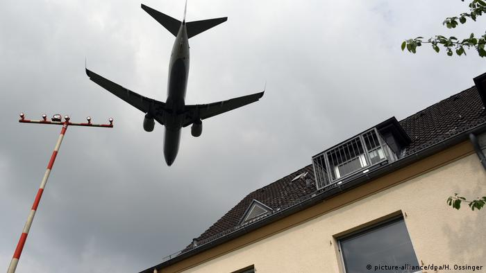 A flight arrives at Dusseldorf airport