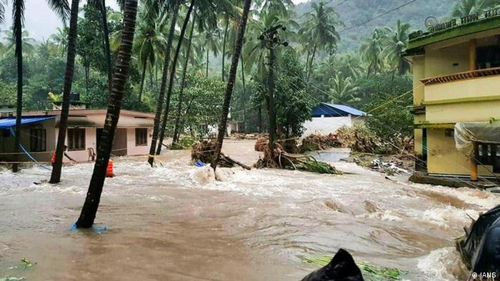 A view of partially submerged houses in rain water, at flood affected areas, in Thiruvananthapuram.