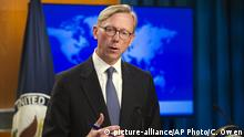 Brian Hook, special representative for Iran, speaks about the creation of the Iran Action Group at the State Department, in Washington, Thursday, Aug. 16, 2018. (AP Photo/Cliff Owen) |