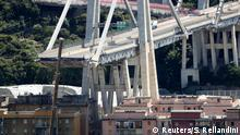 The collapsed Morandi Bridge in Genoa, Italy (Reuters/S. Rellandini)