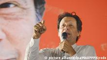 Archiv**** ©Kyodo/MAXPPP - 26/07/2018 ; Imran Khan, head of the Pakistan Tehreek-e-Insaf party (PTI), delivers a speech in Islamabad, Pakistan, on July 21, 2018, ahead of the country's general election. (Kyodo) ==Kyodo Foto: MAXPPP |