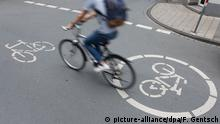 Cyclist on bike path in Münster (picture-alliance/dpa/F. Gentsch)