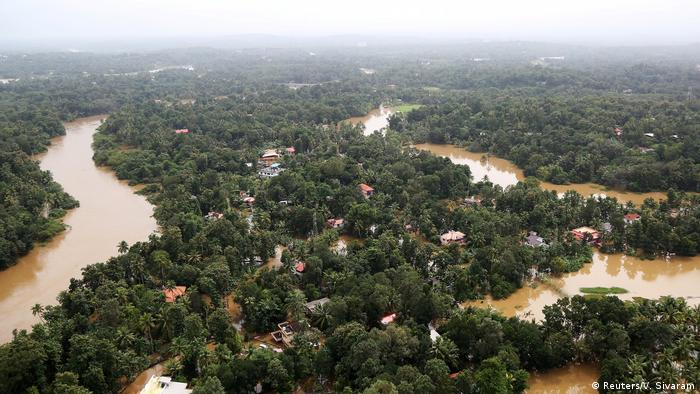 An aerial view of the flood damage in Kerala state