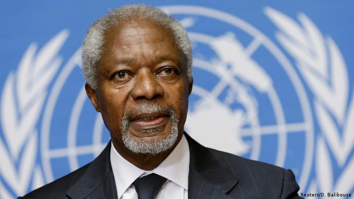 Kofi Annan addresses a news conference at the United Nations in Geneva