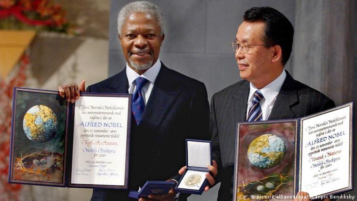 Annanfue galardonado con el premio Nobel de la Paz en 2001.