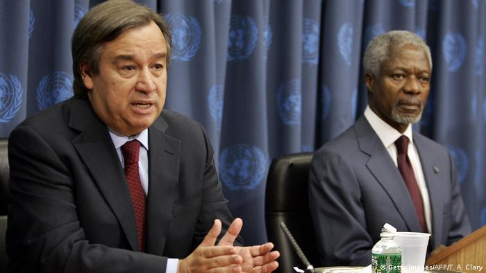 USA UNHCR Antonio Guterres and Kofi Annan 2005 (Getty Images/AFP/T. A. Clary)
