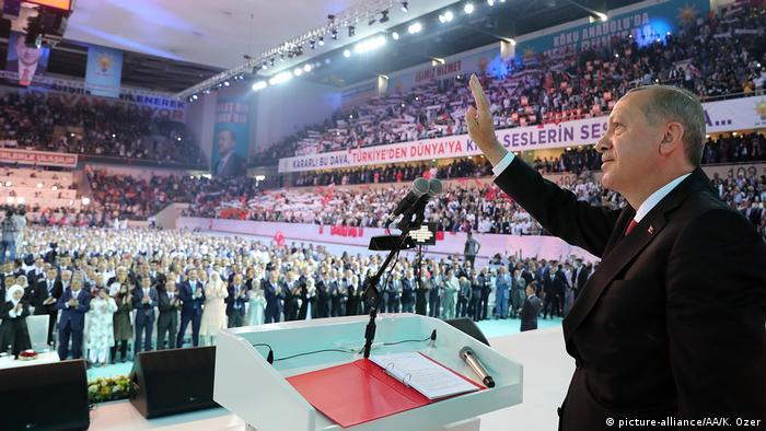 Erogan raises his hand in greeting in front of a giant crowd (picture-alliance/AA/K. Ozer)
