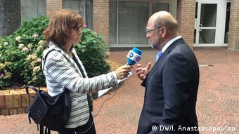 Η συνέντευξη έγινε στην πόλη Βίρζελεν, όπου ο Μαρτιν Σουλτς διετέλεσε δήμαρχος