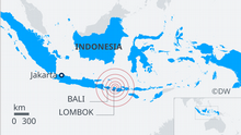 A map showing the reach of the Lombok earthquake