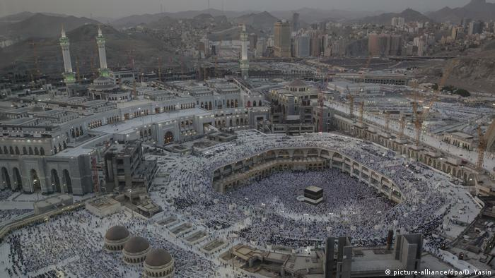 A panoramic shot of one of Islam's holiest sites shows the mass of pilrgrims surrounding the cube-shaped Kaaba in Mecca.