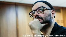 MOSCOW, RUSSIA - AUGUST 16, 2018: Film director Kirill Serebrennikov attends a hearing at the Moscow City Court to consider extending his house arrest on charges of embezzling state funds. Artyom Geodakyan/TASS Foto: Artyom Geodakyan/TASS/dpa |