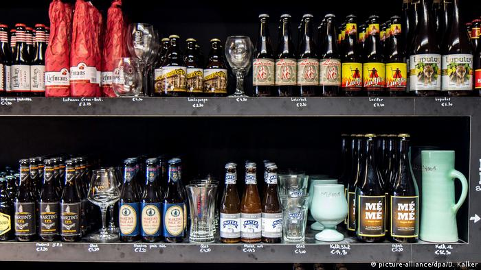 A selection of Belgian beer in a supermarket