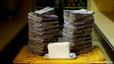 A kilogram of cheese is pictured next to 7,500,000 bolivars