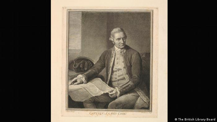 A portrait of Captain Cook sitting by a table with a map on his knee. (The British Library Board)