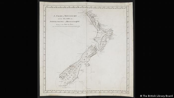 A map of New Zealand drawn with a simple black line. (The British Library Board)