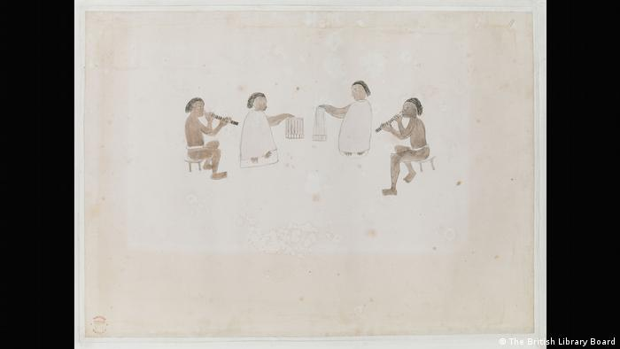 Four Tahitian musicians sit in a semi-circle playing their instruments. (The British Library Board)