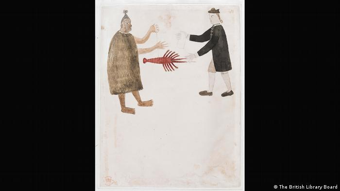 A Tahitian man and a British man approach one another to trade. (The British Library Board)