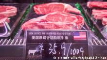 --FILE--Beef steaks imported from U.S. are for sale at a supermarket in Guangzhou city, south China's Guangdong province, 7 July 2018. China on Friday unveiled the new sets of additional tariffs on 60 billion U.S. dollars' worth of U.S. goods in response to the U.S. tariff threat of 200 billion U.S. dollars' worth of Chinese imports. The additional 25 percent tariffs cover the largest share of the overall list and are mainly imposed on vegetables, meat, metals and chemicals, which could bring harm to the U.S. farming and mining industries. China°Øs tariff list unveiled on June 16 took effect earlier in July, some U.S. food producers have already felt the punch from one of the largest export markets. The list of 659 additional items, worth 50 billion U.S. dollars and facing a 25 percent tariff, covers a wide range of products, among which agricultural products and foods are in the majority. Foto: Li Zhihao/Imaginechina/dpa |