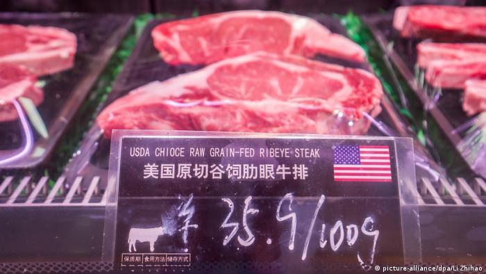 Carne americana em supermercado chinês