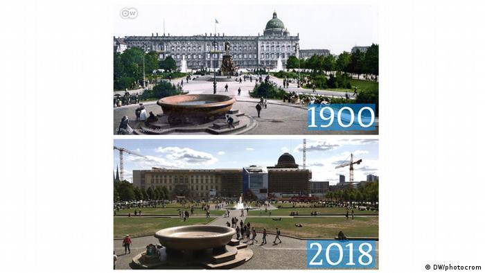 Das Berliner Schloss damals und heute.