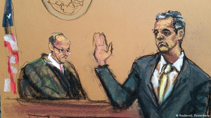 Court room sketch of Michael Cohen (Reuters/J. Rosenberg)