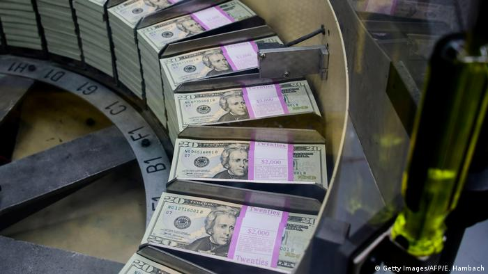 US dollars being processed at the US Treasury