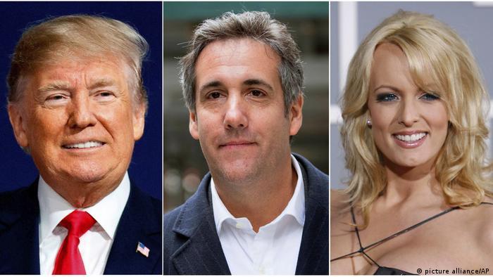 Kombi-Bild - USA Russland-Affäre - Donald Trump, Michael Cohen und Stormy Daniels