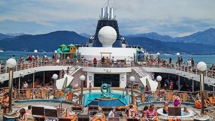 Pool on a deck of a cruise ship in Montenegro Bay