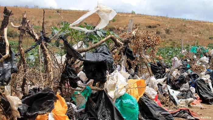 A rural fence with plastic bags caught on it